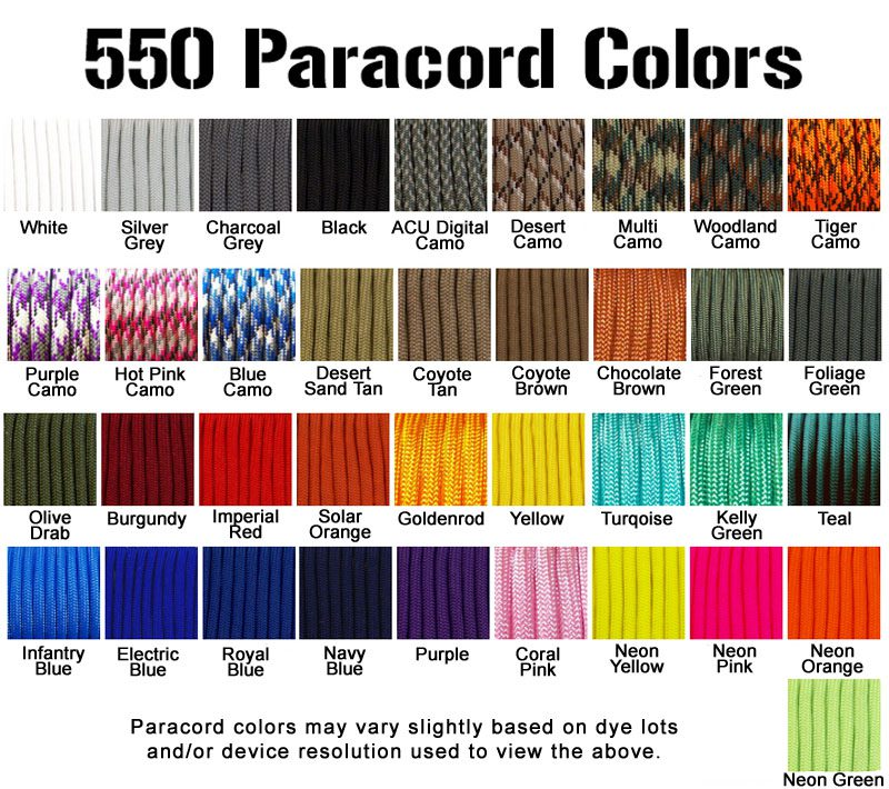 Available Paracord And Tactical Cord Colors